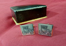 T.U.M.P. -Gold Plated steel cuff links with old car design,  in original case,  Italy 1950's/1960's