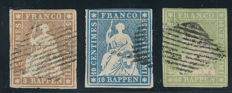 Switzerland 1854 - Strubel - SBK 22A, 23A and 26A