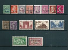 France 1923/1931 – Lot of 15 semi-modern stamps – Yvert #182, 247 - 251, 254, 255, 258, 260, 261, 266 - 269