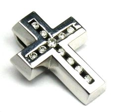 0.25 ct diamond cross pendant 14 kt/585 white gold Dimensions approx. 20.4 x 15 mm