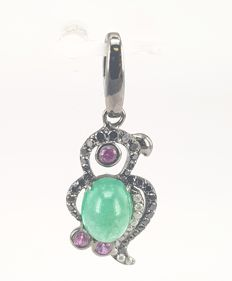 Parrot Pendant in 1.78 carats Emerald and 0.37 carats Round Diamonds in 18 kt Black Gold- FREE SHIPPING