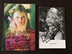 2 x Brigitte Bardot signed photos