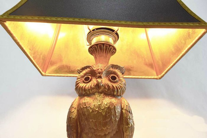 Loevsky U0026 Loevsky   A Pair Of Mid Century Gold Tone Owl Lamps Including  Original Shades