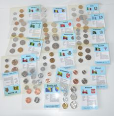 World - Lot of various coins from 16 countries in sets (17 items in total)