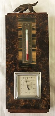 Art Deco weather station crowned with a bronze hunting dog