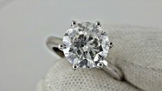 3.01 E/SI1  ct  round diamond ring made of 18 kt white gold - size 6