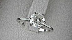 1.18 ct  round diamond ring made of 14 kt white gold - size 7,5