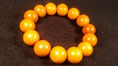 Egg yolk colour modified Baltic Amber bracelet, 27 grams