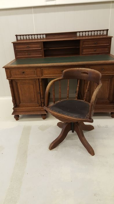 Oak Writing Desk With Upright Partition And Matching Desk Chair C