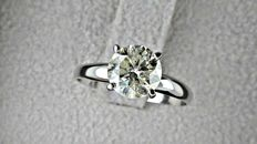 1.60 ct  round diamond ring made of 14 kt white gold - size 7