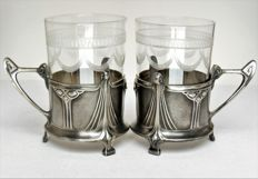 Albin Müller, WMF - glass holder for punch/tea etc. - linear decoration - Jugendstil/Art Nouveau
