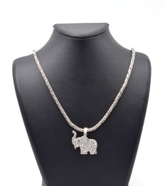 925 Italian sterling silver chain with Elephant Pendant - 60 cm