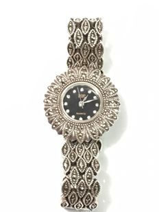 Vintage solid silver women's watch with marquise - c. 1970