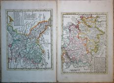 Lot of 2 maps : North-East Germany / Poland; Lower Silesian; H. Moll - The N. E. part of Germany - The north west part of Germany - 1736