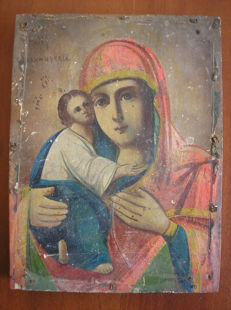 19 th century ortodox russian icon of virgin Mary Vladimirskaja hand painted