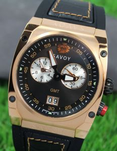 Savoy Midway Men's GMT - Swiss Made - Rose Gold Plated Watch  -  New & Perfect Condition