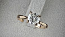 0.81 ct D/SI1  round diamond ring 14 kt rose gold / size 7
