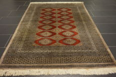 Hand-knotted Persian carpet Yomut Bukhara, silky gloss, 140 × 210 cm