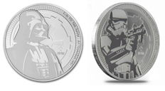 Niue - 2 Dollars 2017/2018 'Darth Vader' & 'Storm Trooper' Star Wars (2 münzen) - 2x 1 oz silber