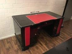 Art Deco desk / high-gloss black and hand-polished