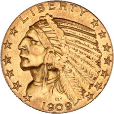 "United States - 5 dollars 1909 ""Indian head"" - gold"