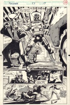 Original Art Page By Hugh Haynes and Jimmy Palmiotti - Marvel Comics - The Punisher #57 - Page 24, half-splash - (1991)