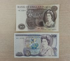 Great Britain - 10 Pounds 1966 and 20 Pounds 1970 - sign J.S.Fforde - Pick 376b and 380a
