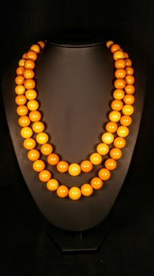 Vintage Egg yolk colour modified 2 strings Baltic Amber necklace, 138 grams