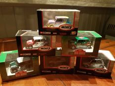 Corgi - Schaal 1/36 - Lot with 6 Rally Minis - the minis are including a certificate - circa 2000