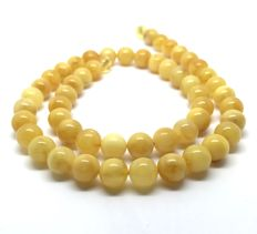 Baltic amber classic necklace 46 cm of beads ø9mm in beeswax colour