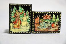 Miniature boxes with Christmas painting in Russian lacquer, hand painted