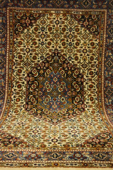 Fine hand-knotted oriental carpet, Indo Moud Mut Bijar Herati without medallion, 120 x 170 cm, made in India