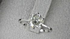 1.73 ct  round diamond ring made of 14 kt white gold - size 7