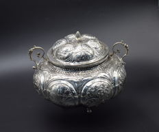 Solid  silver sugar  bowl , International hallmarked 900