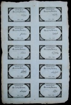 France - 6 sheets with 10 assignats (Former French paper money) on each (60 assignats!) - 10 Brumaire of year 2 (circa 1789)