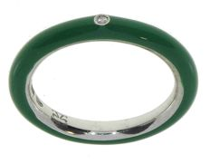 Jenni Jewels Fashion Chic, silver eternity ring with green enamel - size 15 - with 0.01 ct central diamond, VS/SI, colour G - 3.65 g