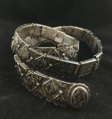Antique belt in high-grade silver with leather - Armenia, early 20th Century