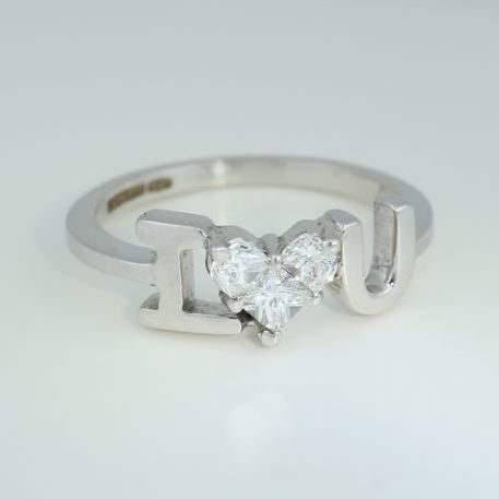 """ I Love You "" 14kt White Gold Diamond ring  0.62 ct - Ring Size 54/17"