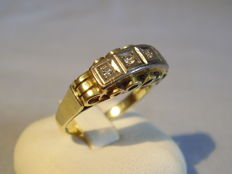 Antique 14 kt gold ring with 4 diamonds of 0.16 ct in total NO RESERVE