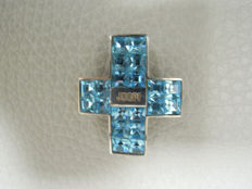 Silver pendant with Swarovski stones in turquoise by Jette Joop - size of 4 cm x 3 cm x 0.8 cm