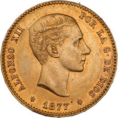 Spain - 25 Pesetas 1877 - Alfonso XII - gold