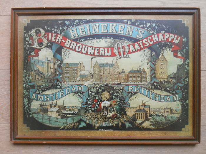 Old advertising of Heineken's in frame