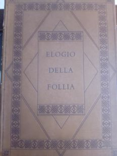 "Antique book ""Elogio della Follia"" by Erasmus of Rotterdam - Netherland, 1553"