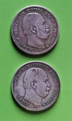 German Empire, Prussia - 2 Mark 1876 A - C (2 coins)