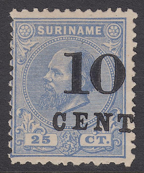 Suriname 1873 - Support issue in perforation 11½ : 12 – NVPH 32aD