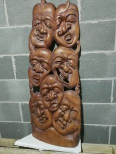 Great and rare wooden statue depicting seven faces with different expressions -hand worked