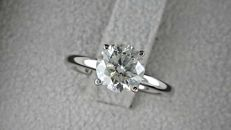 1.53 ct  round diamond ring made of 14 kt white gold - size 5,5