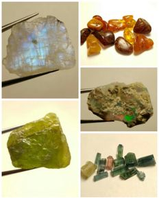 Collection of natural crystals opal, amber, peridot, moonstone & tourmaline - 113 ct.