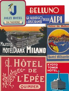 Collection of 48 old luggage labels