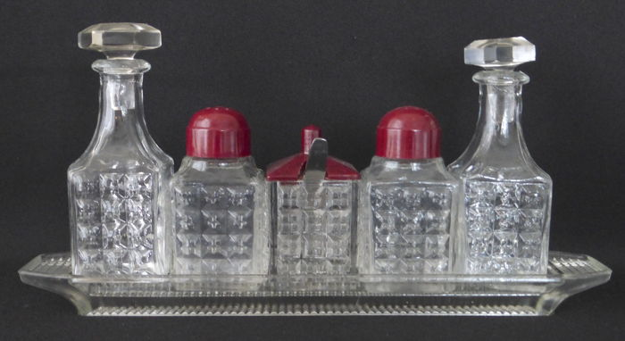 Art Deco condiment set with bakelite plugs - (pepper, salt, mustard, oil, vinergar)
